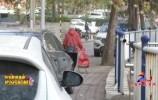 济南兴澜路占盲道停车问题突出 人车混行隐患多