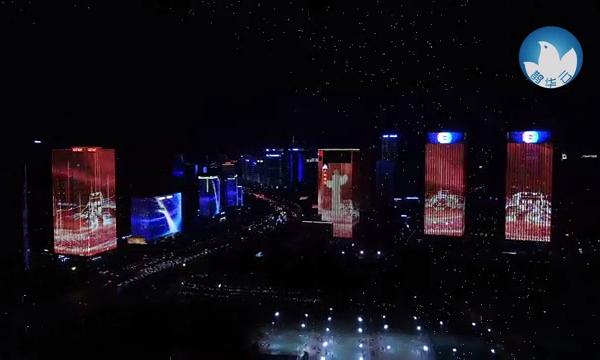 看!泉城点亮中国红 璀璨灯光向祖国母亲表白