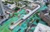 火车站北广场大型停车场新妆现身:地下三层 地坪漆已经铺装