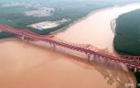 空中瞰长清黄河公路大桥 红的像火 长的像龙