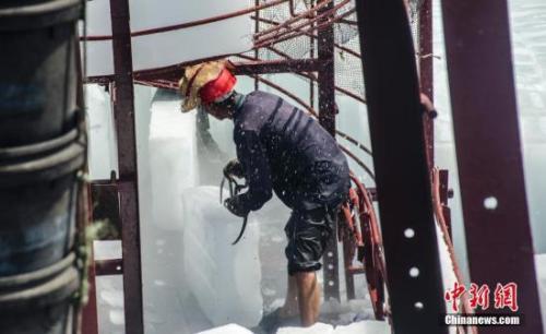 资料图:工人在船上装载冰块。 翟李强 摄
