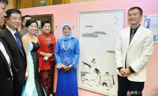 中国画家张立 向新加彼总统哈莉玛赠送《访友图》