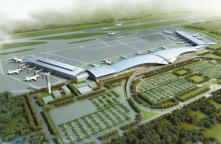 济南机场航站区扩建北指廊工程鸟瞰效果图 作为济南市的重点工程之一,济南国际机场多个重点项目陆续开建:建设5.47万平方米的北指廊、第二条滑行道、新建机场酒店联体建筑这些重点扩建项目,将使济南机场发生巨变。日前,记者从济南机场获悉,备受关注的北指廊扩建和联体酒店有了最新消息。北指廊和酒店将盖成什么样,将给市民带来什么变化?