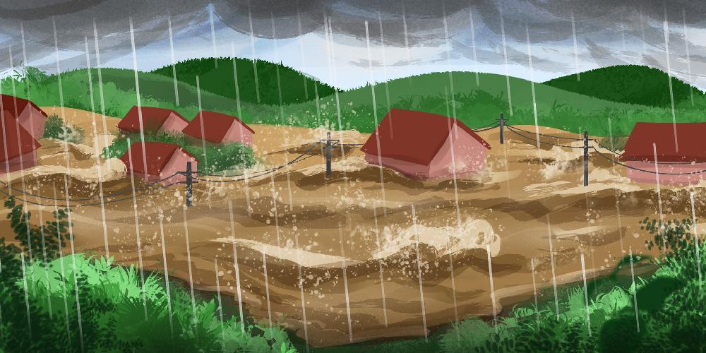 摄图网_401757163_banner_被暴雨洪水摧毁的村庄(企业商用)