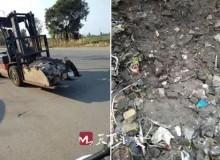 啄木鸟|齿轮厂将生产废料倾倒在绿化带边